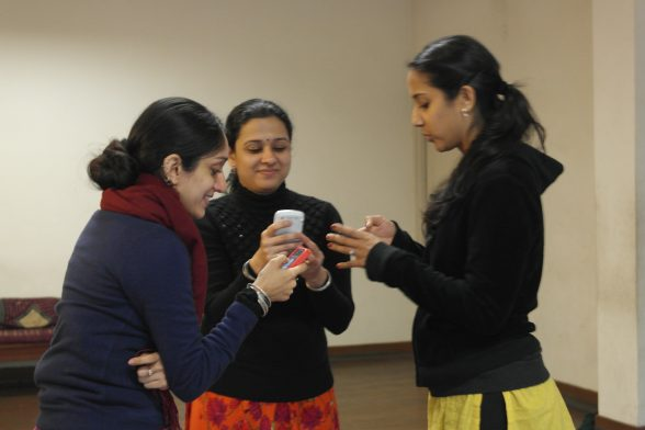 Mythili, Monisa and Arushi capture rhythmic phrases on their mobiles to practice on the go!